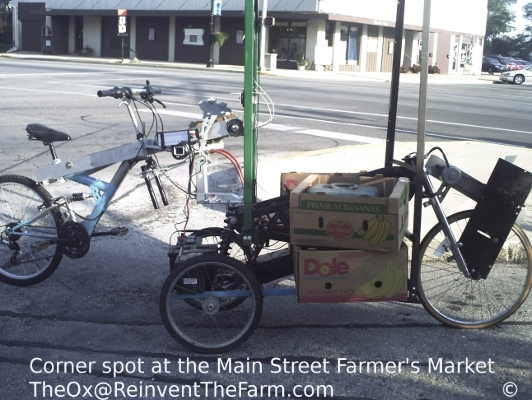 Corner spot at the Main Street Farmer's Market in the Articulated Light Cart Hybrid vehicle